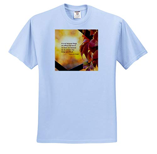 (Alexis Design - Quotes Inspirational - It is not Because Things are Difficult. Seneca Quote. Autumn Colors - T-Shirts - Light Blue Infant Lap-Shoulder Tee (24M) (ts_301218_77))
