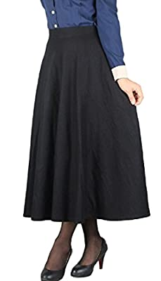 Abetteric Women Wool-Blend Fall Pure Colour Plaid Classic Pencil Mid Skirt