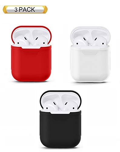 - Airpod Silicone Case, KEOC 3 Pack Protective Silicone Cover and Skin for Earphone case(3pack, red&White&Black)