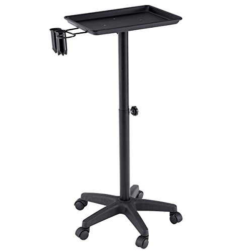 Beauty Instrument (Giantex Beauty Rolling Trolley Cart Salon Instrument Service Tray with Accessory Caddy (Black))