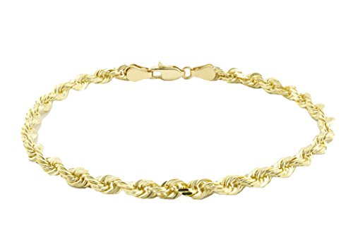 18K Gold 4MM Thick Diamond Cut Rope Chain Bracelet 8