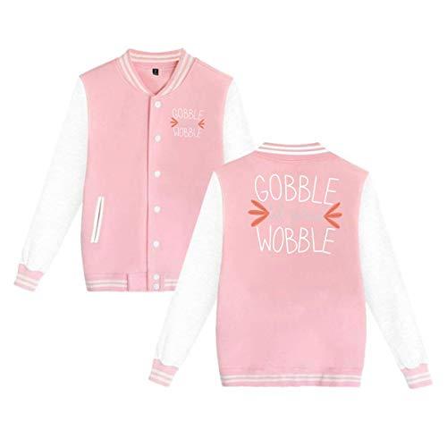 Thanksgiving Unsex Baseball Jacket Uniform Hoodie Letterman Jacket Long Sleeve Banded Collar XXS-4XL ()