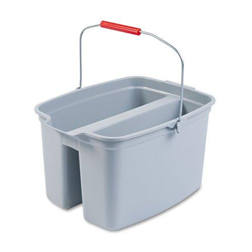 Rubbermaid Commercial 19-Quart Double Utility Pail, Plastic, 18 x 14 1/2 x 10, Gray - one pail.