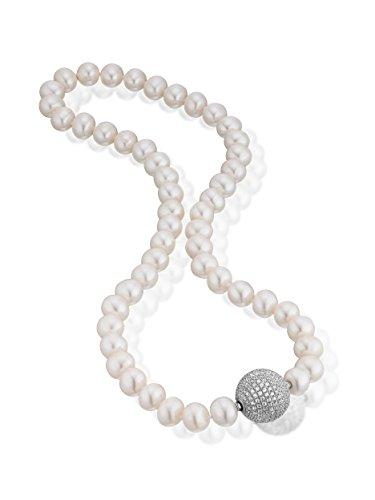 Luxury Silver perle chaîne Fermeture avec changement 2(15mm) en argent sterling 925avec Zirconium Blanc et Bleu