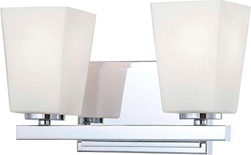 Minka Lavery Wall Light Fixtures 6542-77 City Square Reversible Glass Bath Vanity Lighting, 2 Light, 200 Watts, Chrome