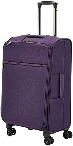 AmazonBasics Belltown Softside Rolling Spinner Suitcase Luggage - 25 Inch, Heather Purple