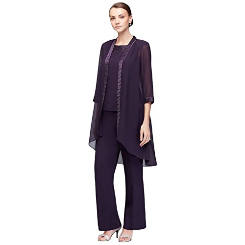 David's Bridal Chiffon Three-Piece Pantsuit with High-Low Jacket Style 24799, Eggplant, 10