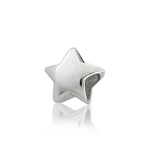 Personalize Initial Celestial Holiday American USA Patriotic Engrave Star Charm Bead For Women Teen .925 Sterling Silver Fits European Bracelet