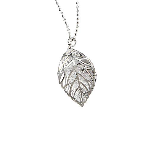 ANAZOZ Gold Plated Necklace Women Statement Silver Cubic Zirconia Leaves Pendant Necklace