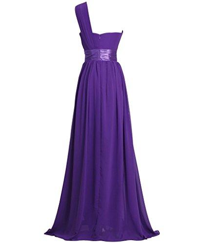 Lang Ein Chiffon Abendkleid BRIDE GEORGE Ballkleid Lila Shoulder x7nPw55qtg