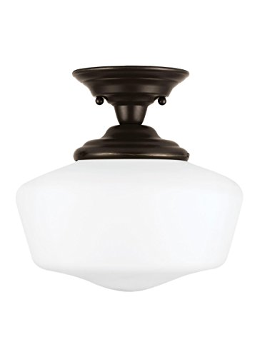 Sea Gull Lighting 77436EN3-782 Academy Medium One-Light Semi-Flush Mount with Satin White Glass Shades, Heirloom Bronze ()