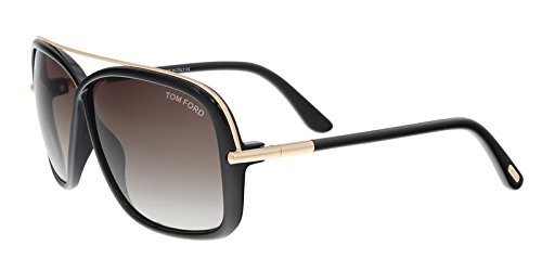 Tom Ford - BRENDA FT 0455, Geometric, injected, women, SHINY BLACK GOLD/ROVIEX SHADED(01K), - Shaded Sunglasses