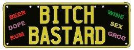Bitch/Bastard Licence Plate Decoration