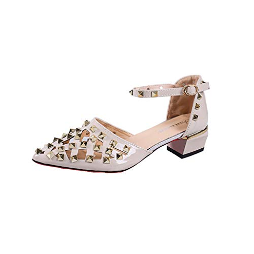 Xinantime Women Point Toe Sandals Ladies Rivet Square Heel Single Shoes Med Heels Party Shoes White