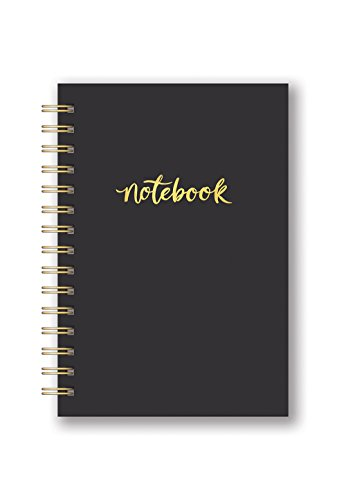 Studio Oh! Hardcover Leatheresque Spiral Notebook Available in 10 Colors, Pitch Black ()
