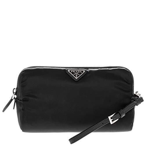 Prada Black Fabric Zippered Cosmetic Pouch with Wrist ()