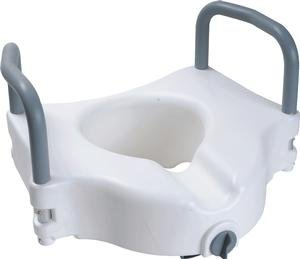 Cardinal Health Raised Toilet Seat with Arms and Lock, 5'' - 3 Per Case