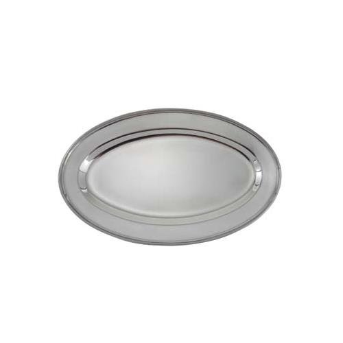 Winco OPL-16 Oval Platter, 16 X 10.25-In, Heavy Stainless Steel - Stainless Steel Platters-OPL-16