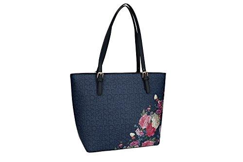 Bolsa mujer hombro PIERRE CARDIN azul con abertura zip VN1214