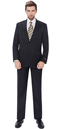 (P&L Men's 2-Piece Classic Fit Single Breasted 2 Buttons Blazer & Trousers Suit Black)