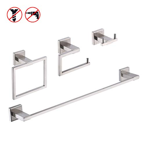 KES SUS 304 Stainless Steel 4-Piece Bathroom Accessory Set RUSTPROOF Including Towel Bar Toilet Paper Holder Towel Ring Double Coat Hook Wall Mount Contemporary Square Style Brushed Finish, LA242DG-42 (Delta Bathroom Accessory Set)