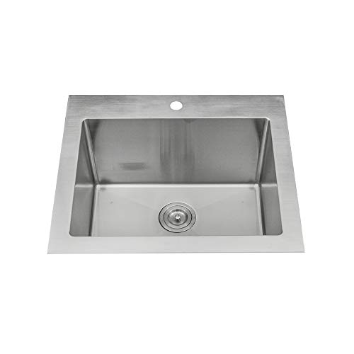"KABCO Stainless Steel Utility Laundry Sink Top Mount or Undermount Single Bowl 25 inch wide 12 inch deep 25"" X 22"" X 12"" Package"