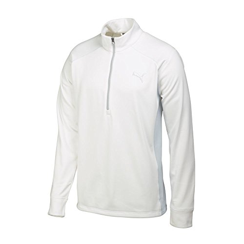 PUMA Golf Men's Essential Popover Shirt, Medium, White-Gray Dawn