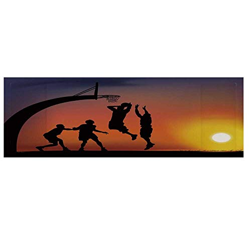 - Teen Room Decor Dustproof Electric Oven Cover,Boys Playing Basketball at Sunset Horizon Sky Dramatic Scene Decorative Cover for Kitchen,36