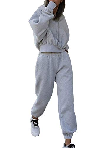 Linsery Women Hoodies Tracksuit Long Sleeve Crop Top Jogger Pants 2 Piece Outfits Light Grey S