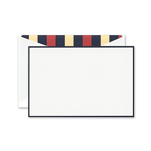 Crane Navy Bordered Correspondence Card with Upper Deck Lining (CC3619)