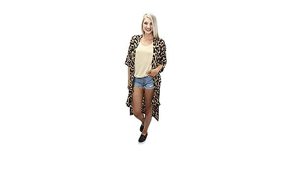 Sunshine /& Rodeos Leopard Color Block Cardigan with Pockets-Olive-medium