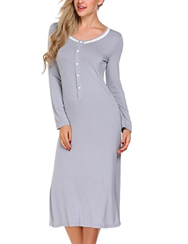 Skylin Long Sleeve Sleepwear Womens Lace Trim Nightgowns Sleep Dress (Gray 18d1810d6