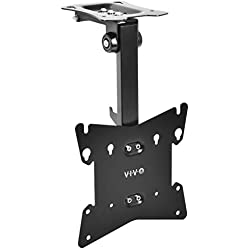 "VIVO Black Manual Flip Down Mount Folding Pitched Roof Ceiling Mounting for Flat TV & Monitors 20"" to 37"" (MOUNT-M-FD37B)"