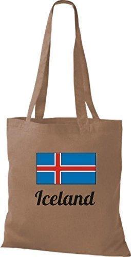 shirtinstyle Tela Bolsa Algodón länderjute Iceland island - fucsia, 38 cm x 42 cm Marrón Claro
