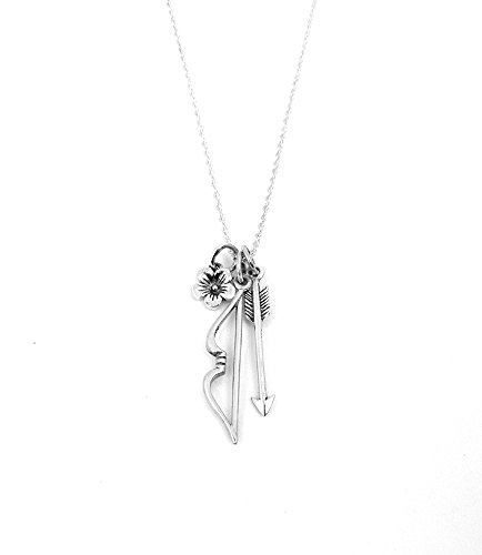 Katniss Inspired Bow Arrow Necklace Sterling Silver Charm Jewelry Hunger Games (16 Inches)