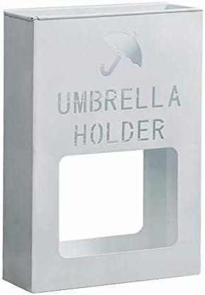 傘立てモダン、金属製の鉄製の傘ホルダー、玄関オフィス屋外屋内用の滑り止めフットマット付き(色:白)
