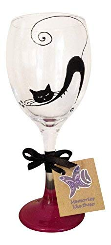 Black cat hand painted wine glass Red base made uk Cat lady gifts