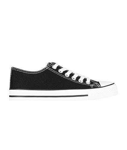 KRISP Zapatillas Mujer Casuales Deportiva Barata Lona Moda Originales Outlet Negro/Blanco (2345)