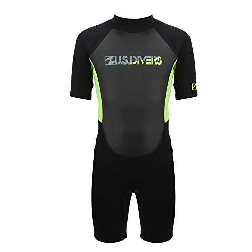 U.S. Divers Youth 2015 Shorty Wetsuit, Black Lime, 14
