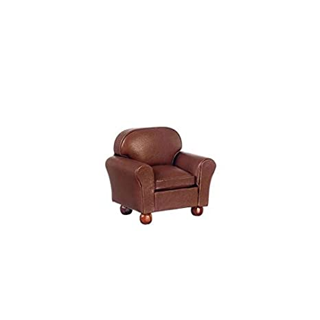 Fine Amazon Com Dollhouse Miniature Club Chair Brown Leather Gmtry Best Dining Table And Chair Ideas Images Gmtryco