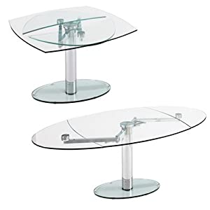 Luca Glass Extending Dining Table Clear Kitchen Home