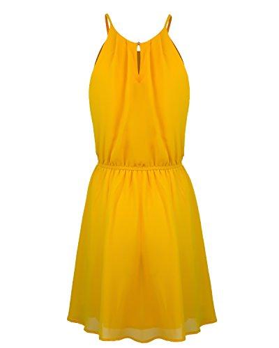 Mini Instar Sleeveless Pleated Women's D39714 Dress Double Chiffon Mode Layered Mustard 3X S ySSYqHr