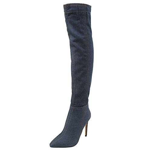 Zip The Over Blue Shoes Knee Stiletto Dark Half Women Taoffen Boots qAwtxTqFI
