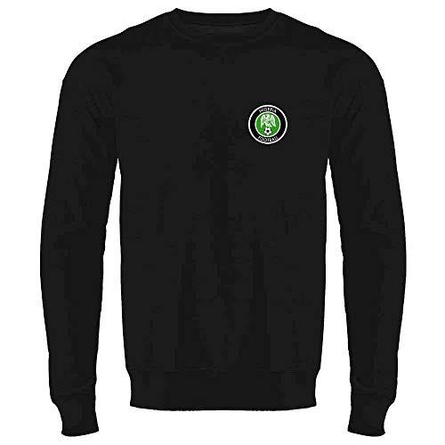 Nigeria Soccer Retro National Team Black L Mens Fleece Crew Sweatshirt