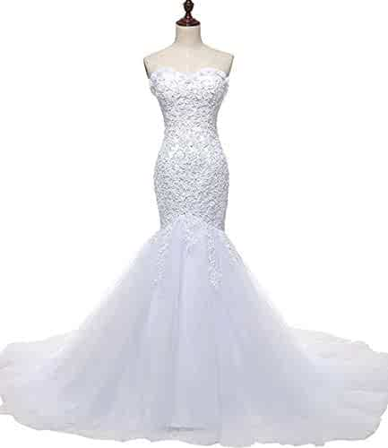 064f267ff15e SOLOVEDRESS Women's Tulle Lace Wedding Dress Mermaid Sweetheart Bridal Gown