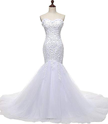 SOLOVEDRESS Women's Tulle Lace Wedding Dress 2016 Mermaid Sweetheart Bridal Gown (US 4, White)