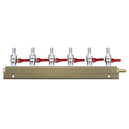 The Weekend Brewer - Colector de distribución de CO2 Barb de 5/16 y 6 vías con válvulas de retención integradas