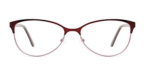 TIJN Two-tone Cateye Metallic Non-prescription Eyeglasses Glasses - Metallic Frames Glasses