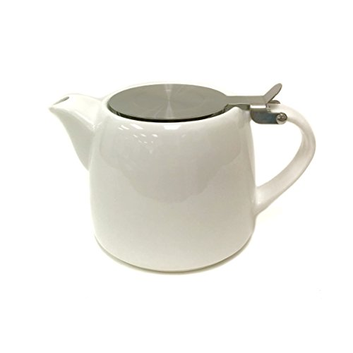 Teapot Glossy - Tea Master Beam Solid Color Teapot w/ Stainless Steel Infuser and Lid (17-Ounce, Glossy White)