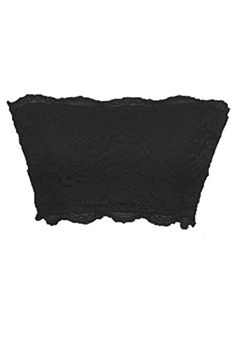 TL Women's Full Floral Lace Strapless Seamless Stretchy Bandeau Tube Bra Top Black (Lace Bra Top)